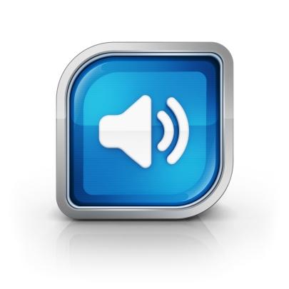 Glossy square speaker toggle icon