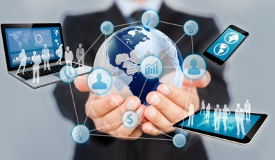 Businessman holds modern technology in hands