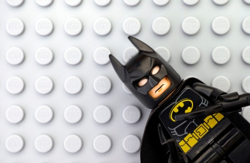 Lego Batman on gray baseplate