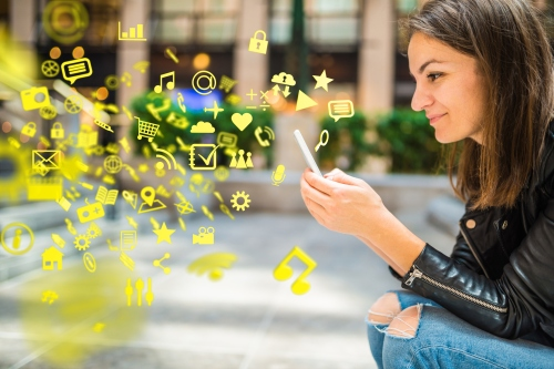 Apps, media and other information flying around a smartphone