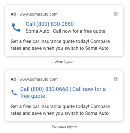 Google example of call only ads